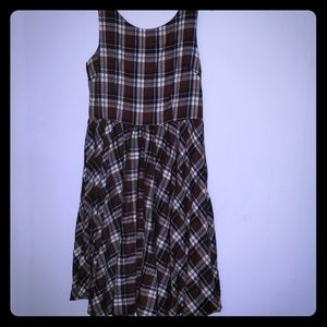 Brown & Navy plaid flannel dress XXL